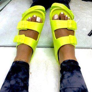 !!RESTOCKED!! Neon Yellow Comfy Buckle Sandals